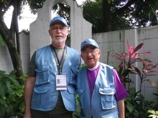 Glen Mitchell with Obispo Martin Barahona at San Juan Evangelista - all decked out in the FECLAI uniform for observers.